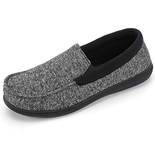 RockDove Men's Moc Slipper with SILVADUR Anti-Odor Fabric, 10, Black