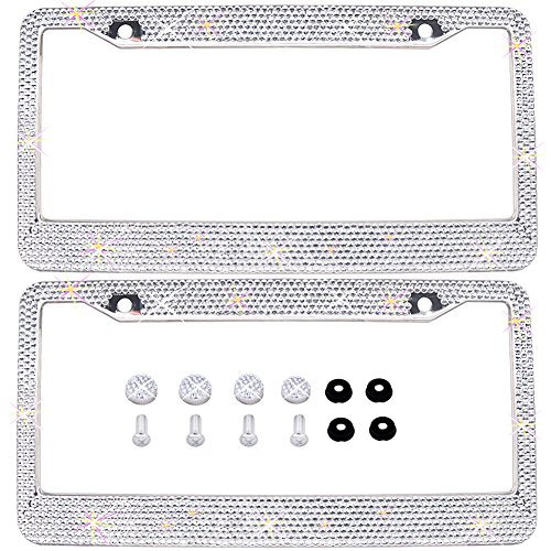 Bling Bling License Plate Frames 2 PACK - Pure Handmade Waterproof Glitter Rhinestones Crystal White License plate Frame for Cars with 2 Holes Bonus Matching Screws Caps Set