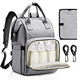 Diaper Bag Backpack, Raydem Large Multifunction Travel Backpack Stylish Waterproof Maternity Nappy Bag with 25L Large Capacity, 14 Pockets, USB Charging Port, Changing Pad, Stroller Hook Clips