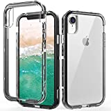 SKYLMW iPhone XR Case,Shockproof Three Layer Protection Hard Plastic & Soft TPU Sturdy Shockproof Armor High Impact Resistant Cover Case for iPhone XR 2018(6.1 inch),Clear