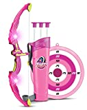 Liberty Imports Light Up Princess Archery Bow and Arrow Toy Set for Girls with 3 Suction Cup Arrows, Target, and Quiver (Pink)