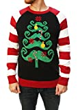 Ugly Christmas Sweater Men's Mustache Christmas Tree Sweater-Small black