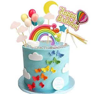 Rainbow Birthday Cake Topper Party Supplies with Rainbow Clouds Balloons Happy Birthday Cake Decorations for Rainbow Theme Party Baby Shower Wedding 51Vm6XF9tYL