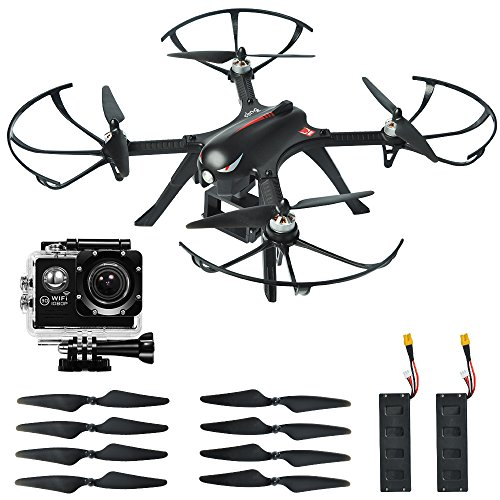 MYSTERYSTONE RC Quadcopter Drone Bugs3 with BRUSHLESS MOTOR, 1080p High definition Action Camera, Smart Transmitter Alarm, Two Batteries, Two Extra Sets of Improved Propellers, Gimbal Mount, Black
