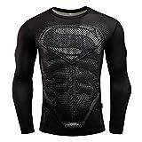HOOLAZA Superman T-Shirt Black Running Men's Shirt Compression T-Shirt Justice League Motion Long Sleeve Men's Fitness XXL