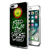 Keep Clam and Smoke Weed Marijuana Weed iPhone case for iPhone 7/8 Plus case Protective for Girls Men Women Cover Shockproof Bumper Anti-Drop PC Frame for 5.5' Designer