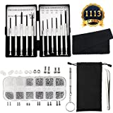 SUBANG 1113 Pieces Eyeglasses Repair Kit Inclund 1100 Pcs Small Screws and Nose Pads Set,11 Pcs Screwdrivers, Glasses Bag, Glasses Cloth for Sunglasses and Watch Repair