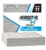 Aerostar 20x25x1 MERV 11 Pleated Air Filter, Made in the USA, 6-Pack