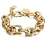 CIUNOFOR CZ Bracelet for Women Girls Wide Cuban Curb Link Bracelet Silver Rose Gold Plated 9.5 Inches Stainless Steel Chain with Round Disc Charm(Gold)