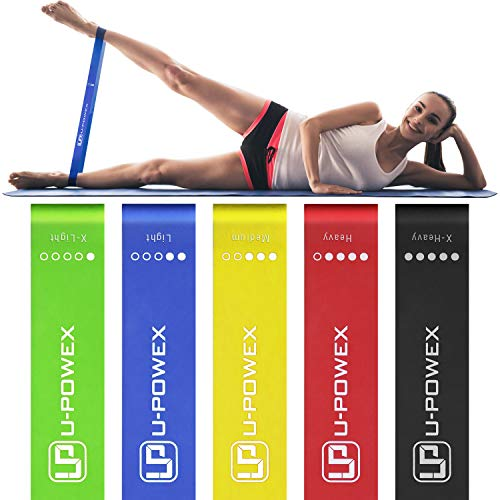 UPOWEX Resistance Bands - Set of 5 - Exercise Bands for Booty, Crossfit, Stretching, Strength Training, Physical Therapy, Home Fitness, Legs and Butt - Workout Bands with 100% Life Time Guarantee
