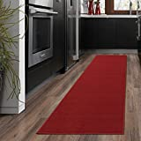 Ottomanson OTH8400-20X59 Ottohome Collection Solid Design Runner, 20' x 59', Red