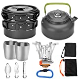 Odoland 12pcs Camping Cookware Mess Kit with Mini Stove, Lightweight Pot Pan Kettle with 2 Cups, Fork Knife Spoon Kit for Backpacking, Outdoor Camping Hiking and Picnic