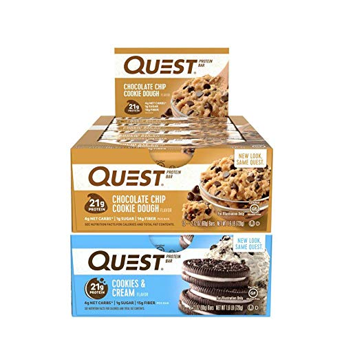 Quest Nutrition Protein Bar Chocolate Favorites (Cookies and Cream and Chocolate Chip Cookie Dough). Low Carb Meal Replacement Bar with Over 20 gram Protein. High Fiber, Gluten-Free (24 Count)