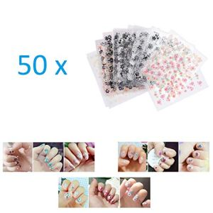 Kare & Kind 50 Sheets 3D Design Self-Adhesive Nail Stickers, Tip, Nail Art Tattoo, Nail Decals, DIY Nail Art Decoration – Flower Patterns – Assorted Colors – Women, Teens, Girls – Gift, Party Favors 51VtiMl4lfL