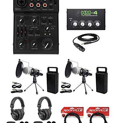 Rockville-2-Person-Podcast-Podcasting-Recording-Kit-wMicsStandsHeadphones