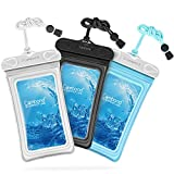 Waterproof Phone Case, 3 Pack Cambond Floating Waterproof Phone Pouch, Transparent TPU Water Proof Cell Phone Pouch Dry Bag with Lanyard for iPhone X 8 7 6s Plus Galaxy S9 S8 S7, Black Blue White