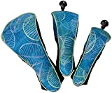 Golf Club Covers - Glove It - Women's Golf Head Covers for Woods, Hybrid and Drivers - Ladies Golf Head Covers - Set of 3 - Wood Cover, Driver Cover, Hybrid Cover - 2019 Aqua Leaf