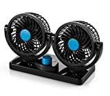 AboveTEK 12V DC Electric Car Fan - Rotatable 2 Speed Dual Blade with 9FT Cord - Quiet Strong Dashboard Cooling...