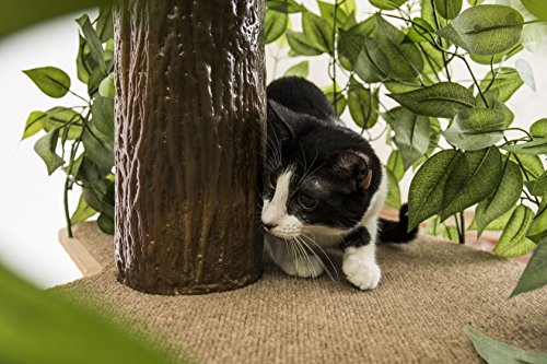 On2Pets Cat Condo Furniture, Tree House Tower for Climbing, Playing, Scratching, and Relaxing - 60 in. high