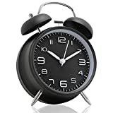 Betus Non-Ticking 4' Twin Bell Alarm Clock - Metal Frame 3D Dial with Backlight Function - Desk Table Clock for Home and Office - Midnight Black