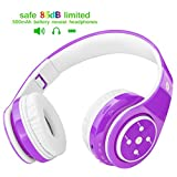 Kids Headphones Bluetooth Wireless On-Ear Foldable Stereo Sound Headset, Safey Volume Limited, Long Playing time, SD Card Slot, Build-in Mic 3.5mm Jack Wireless/Wired Headphones(Purple)
