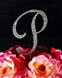 Completely Covered Swarovski Crystal Silver Wedding Cake Toppers ~ LARGE Monogram Letter P