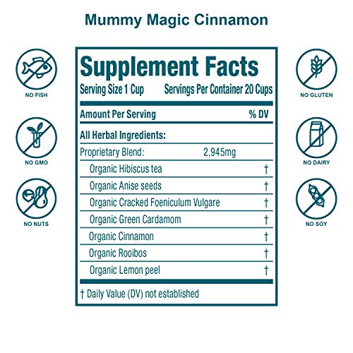 Mummy Magic Sweet Cinnamon & Moringa Detox Tea + 100% Organic + Supports Metabolism + Weight Loss for Women + Digestion with Rooibos Tea, 20 Biodegradable Sachets- Up to 40 Servings 6