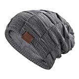 REDESS Beanie Hat for Men and Women Winter Warm Hats Knit Slouchy Thick Skull Cap(Grey)