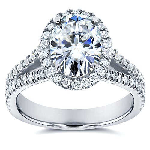 51W%2BgDhIufL Center stone is an 8x6mm Oval Cut Genuine Kobelli Moissanite Small stones are 100% Natural Conflict-Free Diamonds Satisfaction Guaranteed. Return or Exchange Policy Within 30 Days