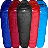 Hyke & Byke Ultralight Down Sleeping Bag: 3 Season 32 Degree Mummy Bag Under 2 LBS - The Lightest, Bag for Thru Hiking, Backpacking, and Camping (Black, Regular)