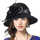 Product review of Women's Wool Church Dress Cloche Hat Plumy Felt Bucket Winter Hat