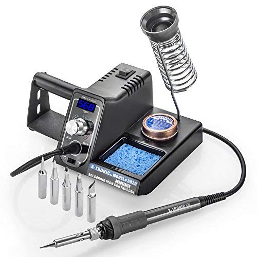 X-Tronic Model #3020-XTS-ST - 75 Watt - Soldering Iron Station with 10 Min Sleep Function, Auto Cool Down, C/F Switch, Ergonomic Soldering Iron Plus More (Soldering Station-Complete with 5 Extra Tips)
