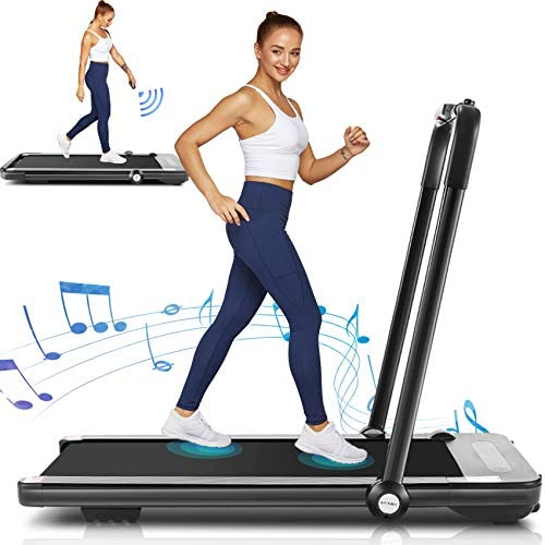 Folding Treadmill,Under Desk Treadmill for Home,2-in-1 Running,Walking & Jogging Portable Running Machine with Bluetooth Speaker & Remote Control,5 Modes & 12 Programs,No Assembly Required 1