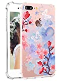 iPhone 7 Plus Floral Case iPhone 8 Plus Clear Cases with Butterfly Hepix Watercolor Flowers Printed Clear Design Transparent TPU Protective Bumper Cover for iPhone 7 Plus iPhone 8 Plus