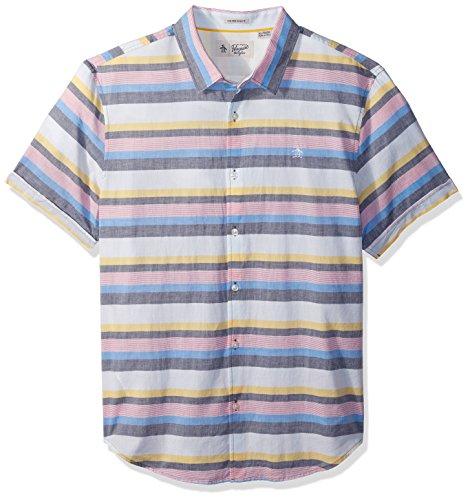 51W3vTwk6UL Men's short sleeve button up casual shirt with stretch built in and striped pattern Heritage Slim Fit - slim cut through chest, waist and arms Original Penguin logo on left chest