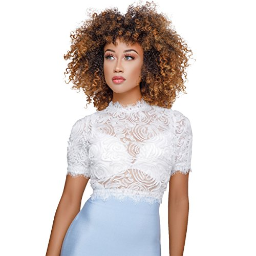 0d4c0e7b233d4 Felicity Young Women s Sexy Summer Long Puff Sleeve Mock Neck Mesh Beaded Sheer  See Through T Shirt Blouse Tops - Fashion Trends Revealed