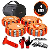 Promondi 4 Pack LED Road Flares Set - Roadside Emergency Safety Light - Rescue Beacon Lights For Car Boat Marine Vehicles - Discs & Batteries & Gloves & Hammer & Bag