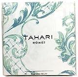 Tahari Home Fabric Shower Curtain Chinoisserie Damask Paisley Scroll Medallion Turquoise, Aqua, SPA Blue on White 72 x 72'