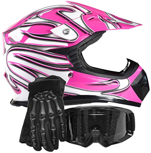 Youth Kids Offroad Gear Combo Helmet Gloves Goggles DOT Motocross ATV Dirt Bike Motorcycle Pink Black - Medium