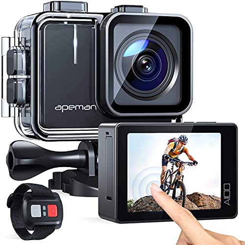 APEMAN Trawo Action Camera 4K WiFi Ultra HD 20MP Underwater Waterproof 40M Camcorder with 170 Degree Ultra-Wide Angle Advanced Sensor EIS Stabilization Dual 1350 mAh Batteries