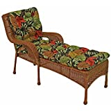 Blazing Needles Squared Outdoor Patterned Spun Polyester Tufted Chaise Lounge Cushion, 74' x 19', Tropique Raven