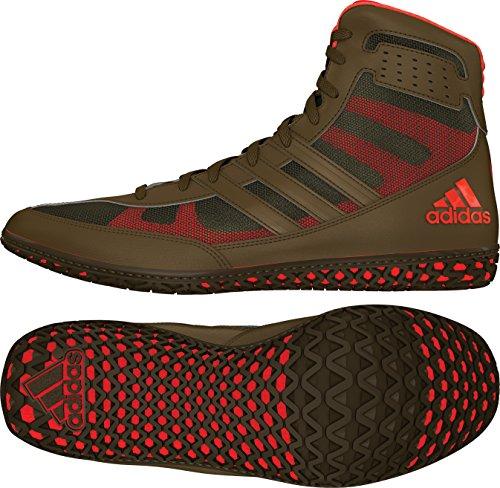adidas Mat Wizard David Taylor Edition Men's Wrestling Shoes, Olive Green/Orange/Olive Green, Size 10.5
