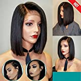 ARUKIHAIR 10A Short Bob Human Hair Lace Front Wig 136 Lace Wig Brazilian Virgin Glueless Silky Straight Hair Wigs with Baby Hair for Women Natural Color 10 Inch Right Parting 130 Density