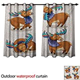 WilliamsDecor Moose Home Patio Outdoor Curtain Kids Cartoon Inspired Cute Elks with Antlers Friendly Nursery Kids Theme Artwork W96 x L72(245cm x 183cm)