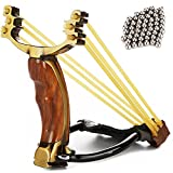 ZQQ Hunting Slingshot, Professional Stainless Steel Wrist Rocket Slingshot Folding Slingshot for Adult Men High Velocity Catapult with 2 Rubber Bands and 100 Slingshot Ammo
