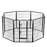 BestPet 32'x32' Heavy Duty 8 Panel Folding Metal Pet Playpen Dog Exercise Fence with Door