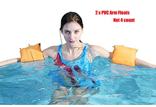 Topsung Floaties Inflatable Swim Arm Bands Rings Floats Tube Armlets for Kids and Adult (Orange)