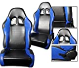 1 PAIR RS Faux Leather Sport Reclinable Racing Seats With Sliders (Black with Blue)