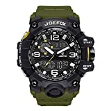 Digital Men Wrist Watch, Military Tactical Waterproof Analog Quartz Watches for Men, Large Face Dual Display LED Watch, Sports Watches for Surf and Skate (Green)