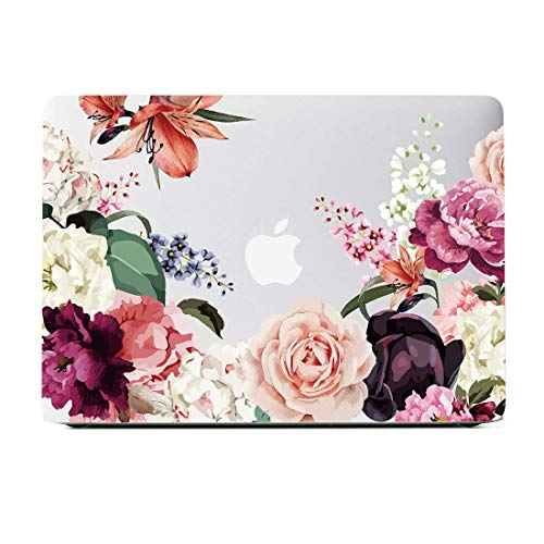 MacBook Air 13 Inch Case 2018 Release A1932, Rose Flower Clear Case, Soft Tough Frosted See Through Hard Shell Case for MacBook Air 13 Inch & Retina Display Fits Touch ID